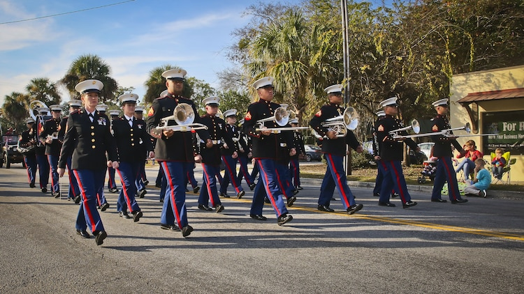 The Marine Corps Recruit Depot Parris Island Band participates in the annual Beaufort Christmas parade on Dec. 2. The band played traditional Christmas music during the parade. The parade was held to celebrate the upcoming holiday season.