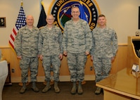 (Left to right) Chief Master Sgt. David Klink, 24th Air Force command chief, and Maj. Gen. Christopher Weggeman, commander of 24th Air Force, meet with Gen. John Hyten, commander of U.S. Strategic Command (USSTRATCOM), and Chief Master Sgt. Patrick McMahon, senior enlisted leader of USSTRATCOM, during a visit to USSTRATCOM headquarters at Offutt Air Force Base, Neb., Dec. 7, 2017. Weggeman is responsible for providing Air Force component and combatant commanders with trained and ready cyber forces which plan, direct and execute global cyberspace operations. One of nine Department of Defense unified combatant commands, USSTRATCOM has global responsibilities assigned through the Unified Command Plan that include strategic deterrence, nuclear operations, space operations, joint electromagnetic spectrum operations, global strike, missile defense, and analysis and targeting.
