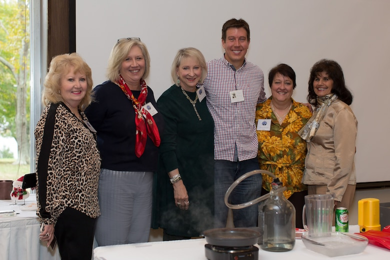 Meteorologist Dan Thomas, fourth from left, takes a moment to pose for a photo with the AEDC Woman's Club members during his presentation at the AEDCWC meeting Nov. 2. Thomas is a meteorologist at WSMV/TV. Pictured left to right are Sande Hayes, Kate Canady, Suzie Schultz, Thomas, Anne Wonder and Violet Nauseef. (Courtesy photo)