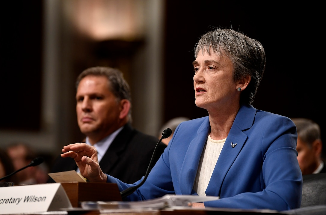 Secretary of the Air Force Heather Wilson speaks to the Senate Armed Services Committee Dec. 7, 2017, in Washington, D.C.  During her remarks, Wilson addressed a variety of issues facing the Air Force.  (U.S. Air Force photo by Staff Sgt. Rusty Frank)