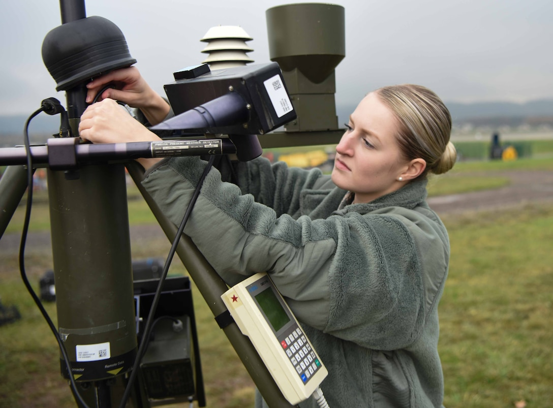 U.S. Air Force Airman Hannah Arreguini, 86th Operations Support Squadron weather apprentice, begins taking down the Tactical Meteorological eQuipment – 53 in conclusion of an exercise, on Ramstein Air Base, Germany, Nov. 8, 2017. When Field Meteorological eQuipment goes down the weather team needs to manually obtain a weather report for the pilots at a moment's notice.