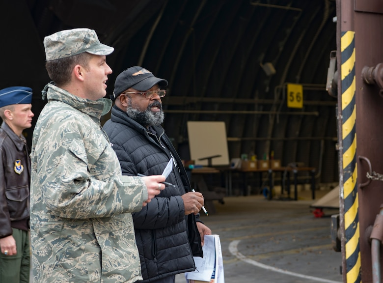 William Hendricks, right, Headquarters United States Air Forces in Europe Arms Control and Counter Proliferation treaty compliance officer, roleplays as an inspector during a Conventional Arms Forces in Europe Inspection Exercise on Ramstein Air Base, Germany, Dec. 6, 2017. The treaty establishes that at any moment, any of the 30 countries can announce that they are giving 36 hours' notice before inspecting Ramstein Air for combat capabilities such as combat aircraft. (U.S. Air Force photo by Senior Airman Elizabeth Baker)