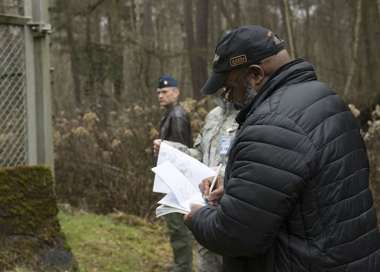 William Hendricks, right, Headquarters United States Air Forces in Europe Arms Control and Counter Proliferation treaty compliance officer, roleplays as an inspector during a Conventional Arms Forces in Europe Inspection Exercise on Ramstein Air Base, Germany, Dec. 6, 2017. Ramstein exercises annually to ensure that it is in compliance with the treaty, which establishes that at any moment, any of the 30 countries can announce that they are giving 36 hours' notice before inspecting Ramstein Air for combat capabilities such as combat aircraft. (U.S. Air Force photo by Senior Airman Elizabeth Baker)