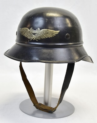 Plans call for this artifact to be displayed near the B-17F Memphis Belle™ as part of the new strategic bombardment exhibit in the WWII Gallery, which opens to the public on May 17, 2018. German Air Raid Warning Service civilians, who notified the population of imminent bomber attacks, wore these helmets.