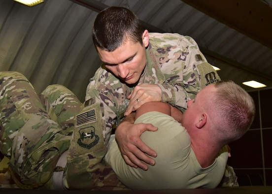 With the help of a colleague, Capt. Eric Walter, 386th Expeditionary Medical Group physical therapy element chief, has developed a proactive approach to physical therapy at an undisclosed location in Southwest Asia.