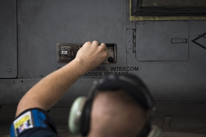Airman 1st Class Tyler Boyd, 74th Aircraft Maintenance Unit crew chief, secures an aircraft panel on the side of an A-10C Thunderbolt II, Dec. 6, 2017, at Moody Air Force Base, Ga. Moody's week-long, Phase 1, Phase 2 exercise is designed to demonstrate the 23d Wing's ability to meet combatant commander objectives and tested the pilots' and maintainers' ability to launch around-the-clock sorties at an accelerated rate during a sortie surge. (U.S. Air Force photo by Staff Sgt. Ryan Callaghan)