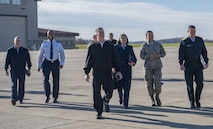 West Virginia National Guard leadership along with Peruvian Air Force Maj. Gen. Gregorio C. Mendiola, Assistant Defense and Air Attaché for the Embassy of Peru, walk out to a C-130H Nov. 21, 2017 at McLaughlin Air National Guard Base, Charleston, W.Va. Mendiola visited the 130th Airlift Wing to see first hand the domestic response capabilities of Air National Guard assets at the wing including the C-130H and aeromedical evacuation mission. (U.S. Air National Guard Photo by Airman Caleb Vance)
