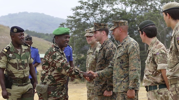 Members of international military forces, including U.S. Marines, shake hands.
