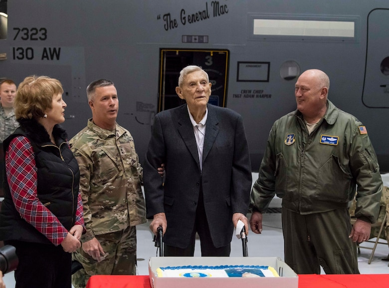 """U.S. Army Maj. Gen. James Hoyer, West Virginia National Guard Adjutant General, addresses attendees at an aircraft naming ceremony held Dec. 7, 2017 at McLaughlin Air National Guard Base, Charleston, W.Va. The aircraft was given the name """"The General Mac"""" to honor Brig. Gen. (ret) James K. McLaughlin who founded the West Virginia Air National Guard and was a pilot in World War II with the famous Eight Air Force. (U.S. Air National Guard photo by Tech. Sgt. De-Juan Haley"""