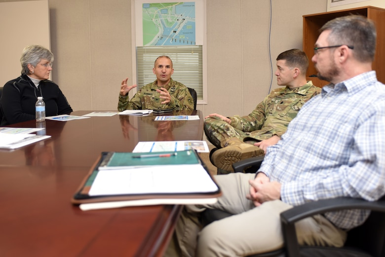Col. Paul Kremer, U.S. Army Corps of Engineers Great Lakes and Ohio River Division acting commander, meets with Nashville District leadership, engineers and project manager for an update on the Chickamauga Lock Replacement Project.  The colonel met with the team Dec. 5, 2017 at the resident engineer office at Chickamauga Lock at Tennessee River mile 471 in Chattanooga, Tenn. (USACE photo by Lee Roberts)