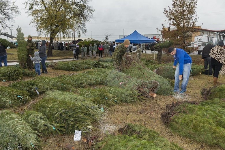 Members of the Joint Base San Antonio-Lackland community pick Christmas tress at JBSA-Lackland donated by the Christmas SPIRIT Foundation, FedEx and 18 tree farmers as part of the Trees for Troops program Dec. 7, 2017.