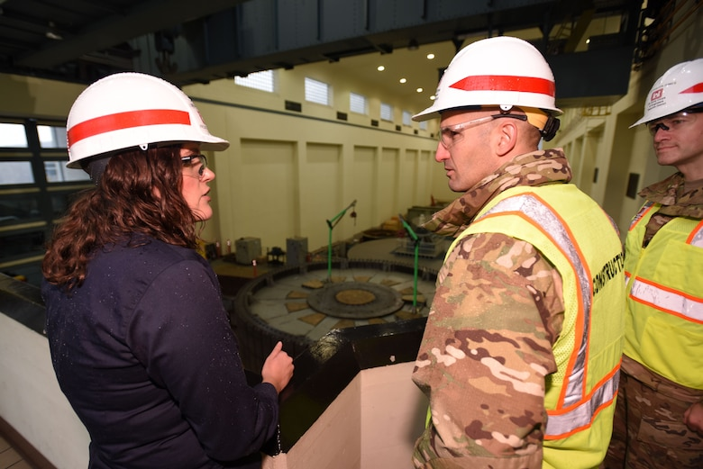 Col. Paul Kremer (Right), U.S. Army Corps of Engineers Great Lakes and Ohio River Division acting commander, receives an update Dec. 5, 2017 from Loren McDonald, project manager, on the Center Hill Dam Hydropower Rehabilitation Project at the power plant in Lancaster, Tenn. (USACE photo by Lee Roberts)