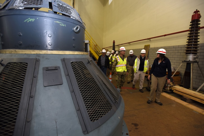Col. Paul Kremer (Left), U.S. Army Corps of Engineers Great Lakes and Ohio River Division acting commander, tours the Center Hill Dam power plant Dec. 5, 2017 in Lancaster, Tenn., led by Loren McDonald, project manager for the Hydropower Rehabilitation Project. (USACE photo by Lee Roberts)