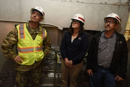 Col. Paul Kremer (Left), U.S. Army Corps of Engineers Great Lakes and Ohio River Division acting commander, tours the Center Hill Dam power plant Dec. 5, 2017 in Lancaster, Tenn., with Loren McDonald, project manager for the Hydropower Rehabilitation Project, and Jerry Lee, project engineer. (USACE photo by Lee Roberts)