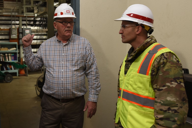 Col. Paul Kremer (Right), U.S. Army Corps of Engineers Great Lakes and Ohio River Division acting commander, gets briefed by Jeff Flowers, power plant project manager for the Nashville District's Mid-Cumberland Area, during a tour of the Center Hill Dam power plant Dec. 5, 2017 in Lancaster, Tenn. (USACE photo by Lee Roberts)