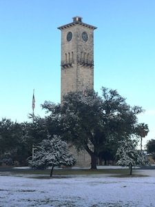 The U.S. Army North Quadrangle got a dusting of snow.