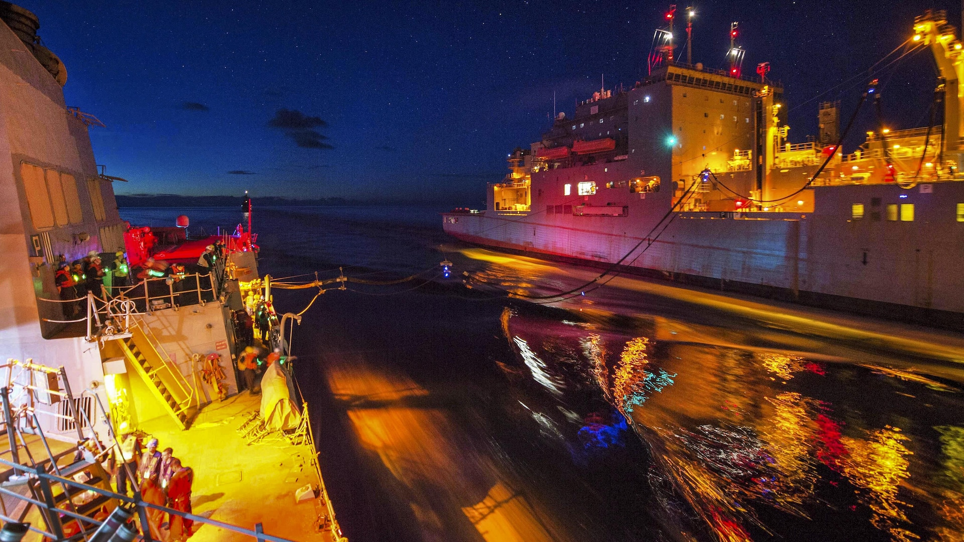 PACIFIC OCEAN (June 24, 2017) The Arleigh Burke-class guided-missile destroyer USS McCampbell (DDG 85) conducts a replenishment-at-sea with the dry cargo and ammunition ship USNS Richard E. Byrd (T-AKE 4). McCampbell is on patrol in the U.S. 7th Fleet area of operations in support of security and stability in the Indo-Asia-Pacific region. (U.S. Navy photo by Mass Communication Specialist 2nd Class Jeremy Graham/Released)