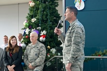 Air National Guard Readiness Center Commander Brig. Gen. Steven S. Nordhaus addresses Airmen assigned to the ANGRC at the winter holiday celebration Dec. 7, 2017, at the ANGRC on Joint Base Andrews, Md. The event celebrated many different holiday traditions with food, music, and holiday greetings from senior National Guard Bureau leadership. (U.S. Air National Guard photo/Tech. Sgt. John E. Hillier)