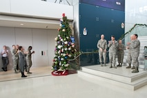 Gen. Joseph L. Lengyel, Chief of the National Guard Bureau, and Air National Guard senior leaders light the ANG Readiness Center's holiday tree during the ANGRC's Winter Holiday Celebration, Dec. 7, 2017 at the ANGRC on Joint Base Andrews, Md. Leaders thanked ANGRC personnel for their contributions to the past year's successes and holiday wishes for Airmen and families. (U.S. Air National Guard photo/Tech. Sgt. John E. Hillier)