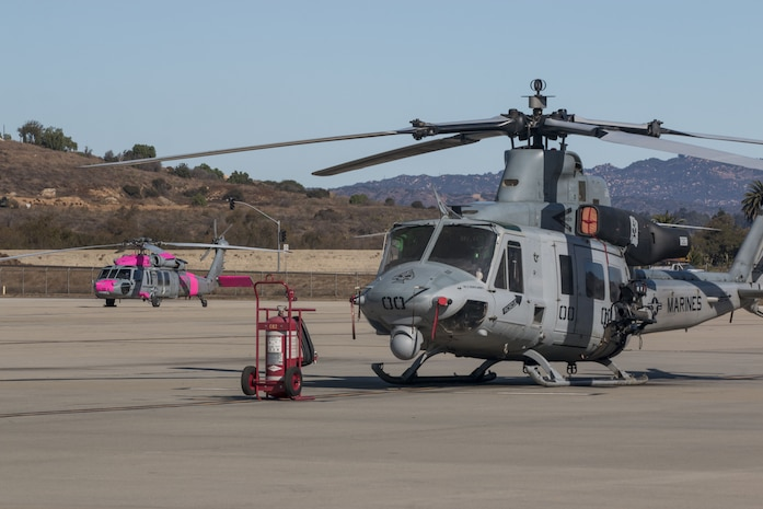 The UH-1Y Venom from Marine Light Helicopter Squadron (HMLA 267, MCAS Camp Pendleton, are flying in direct support of the Lilac Fire on Dec. 08, 2017. While two CH-53E Super Stallions from Marine Heavy Helicopter Squadron (HMH) 462, MCAS Miramar, are on standby.