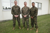 Cpl. Matthew Dungan (left), Sgt. Justin Erler (center) and Lance Cpl. Eduardo Rosariomolina provided life-saving assistance to Master Sgt. Hector Trujillo after he was hit by a car on the Okinawa Expressway Dec. 1, 2017. Trujillo, a motor transport maintenance chief with 9th Engineer Support Battalion, 3rd Marine Logistics Group, was flown to San Diego, California, where he remains hospitalized and continues to receive treatment for his injuries. (Courtesy photo provided by Maria Trujillo)