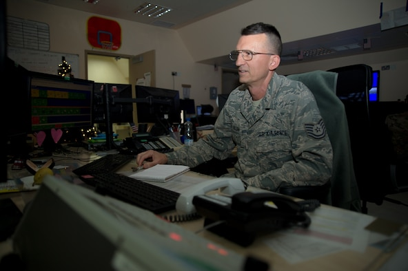 Tech. Sgt. Holden 386th Expeditionary Maintenance Squadron maintenance operation center controller, confirms information in a maintenance database at an undisclosed location in Southwest Asia, Dec. 6, 2017. The MOC is responsible for accurately recording the mission capabilities of all aircraft under the 386th AEW purview.