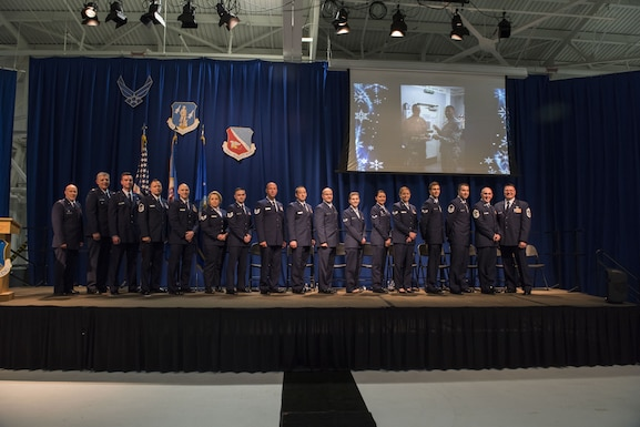 U.S. Air Force Airmen from the 133rd Airlift Wing, along with distinguished guests, former commanders, retirees, and family members attend the annual Wing Award Ceremony in St. Paul, Minn., Dec. 9, 2017.