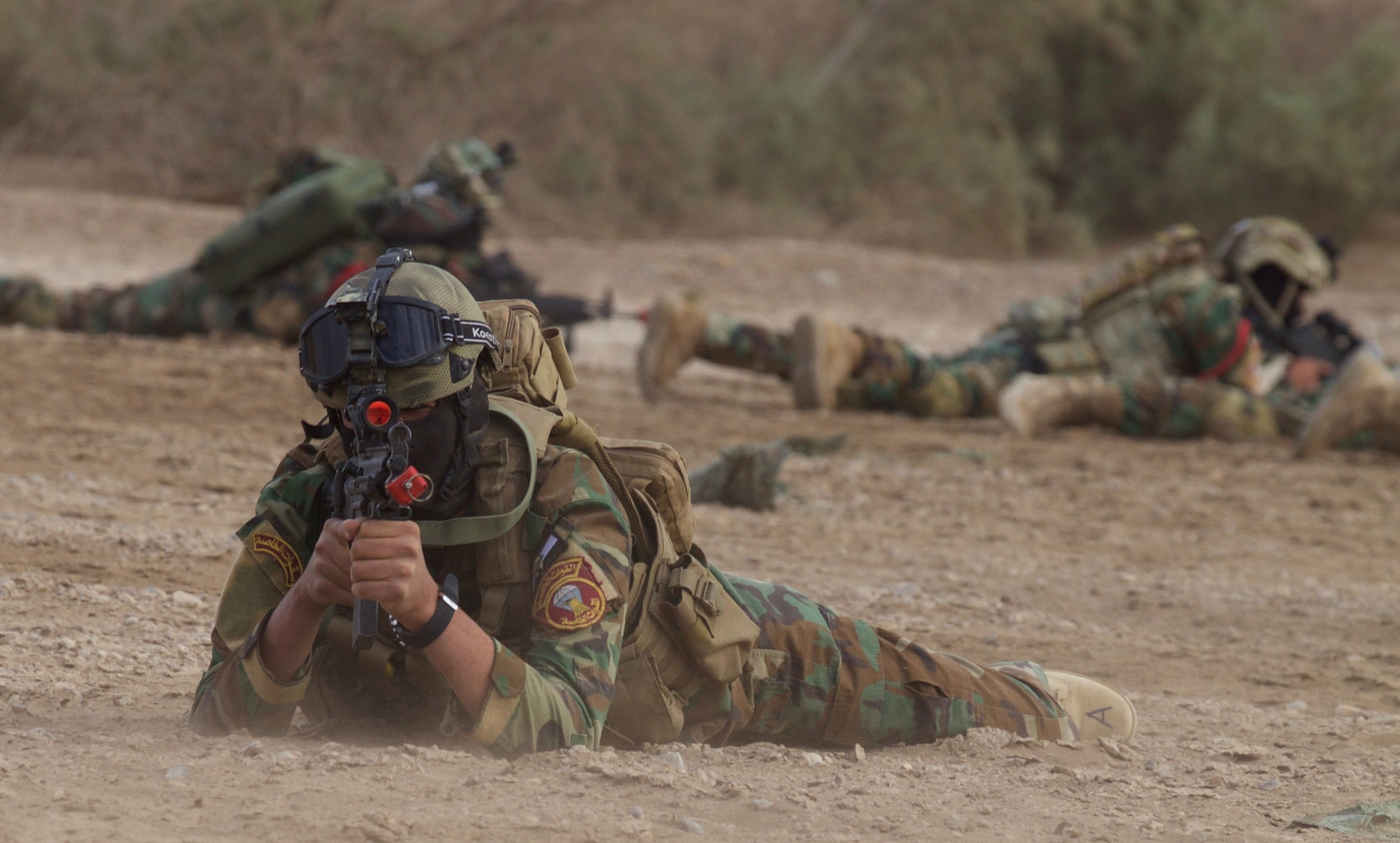 Members of the Iraqi special forces provide security during a final air mobility operations exercise at Camp Taji, Iraq.