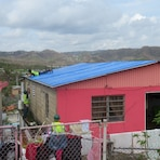 The first home in Barrio Berinquen, Caguas, Puerto Rico to receive a Blue Roof.