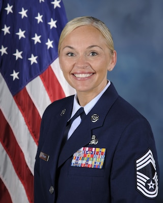 Chief Master Sgt. Heather Ransom, 502nd Security and Readiness Group Superintendent.