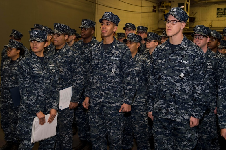 USS Bonhomme Richard (LHD 6) Frocks Newly Advanced Petty Officers