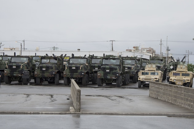 CAMP FOSTER, OKINAWA, Japan – The vehicles that are waiting for maintenance sit in