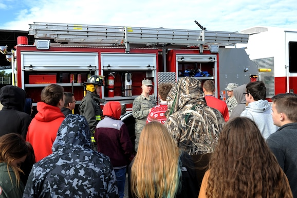 A photo depicting a tour of the installation for Cabot Freshmen Academy students.