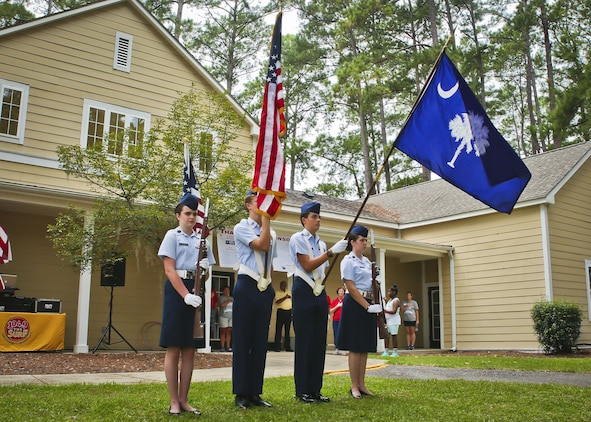 The Beaufort Composite Squadron of the Civil Air Patrol present the colors during the 2017 Military Appreciation Day aboard Laurel Bay Housing, Aug. 26. The Beaufort Regional Chamber of Commerce hosted the event to thank service members and their families for contributions made to the Tri-command area. After the presentation of colors and an invocation, the president of the Chamber of Commerce and representatives of each installation in the Tri-command spoke to the attendees of the event.