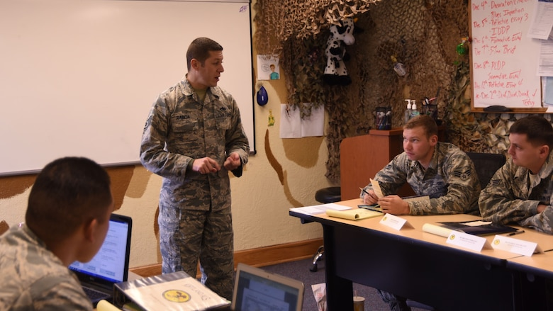 Staff Sgt. Nicholas Garcia, Airman Leadership School flight instructor, explains the drill and ceremonies evaluation to his flight at Kirtland Air Force Base, Nov. 30. A typical class at ALS is six weeks long, or 27 training days.