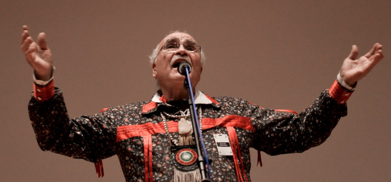 Raymond Two Crows Wallen, co-founder of the Native American music group Ga-Li, performs a song during the Native American Indian Heritage Month celebration here, Nov. 28, 2017. On Aug. 3, 1990, President of the United States George H. W. Bush declared the month of November as National American Indian Heritage Month, thereafter commonly referred to as Native American Heritage Month. (U.S. Air Force Senior Airman Samuel Earick/Released)