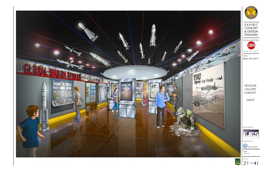Upgraded exhibit to the front entrance of the Barksdale Global Power Museum.