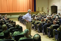Secretary of the Navy Richard V. Spencer, speaks with Marines and Sailors during his visit to MacDill Air Force Base.