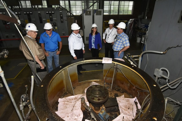 A Safety Walk-thru is underway at the Arnold Air Force Base Primary Pumping Station. Pictured from left are: NAS Safety, Health & Environmental Manager Dick Nugent; NAS Supervisor Bob Thomas; NAS Deputy General Manager Doug Pearson; NAS General Manager Cynthia Rivera; NAS Integrated Resources Director Ben Souther; and NAS Cooling Water System Engineer Jeff Quattlebaum. (U.S. Air Force photo/Rick Goodfriend)