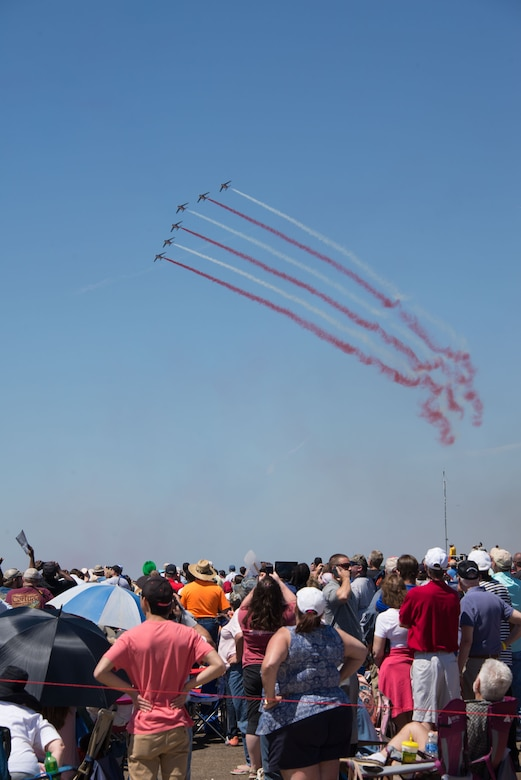 """The 2017 Maxwell Air Force Base """"Heritage to Horizon"""" Air Show drew a crowd of about 160,000 people during the two-day show, April 8-9, 2017. Aerial demonstration acts included the U.S. Air Force Thunderbirds and the French Patrouille de France (pictured). The International Council of Air Shows awarded Maxwell the Dick Schram Memorial Community Relations Award for having the best air show in 2017. (U.S. Air Force photo by Trey Ward)"""