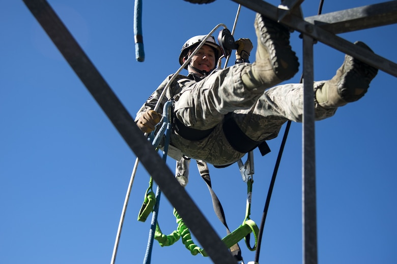 Chief Master Sgt. Jarrod Sebastian, 23d Wing command chief, repels down a radio antenna tower, Dec. 11, 2017, at Moody Air Force Base, Ga. Moody leadership visited the radar, airfield and weather systems facility to familiarize themselves with the 23d Operations Support Squadron's duties and to gain a better understanding of how they impact the mission. (U.S. Air Force photo by Airman 1st Class Erick Requadt)