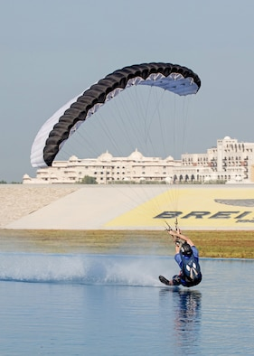 "Maj. Matthew Shull, 6th Space Operations Squadron, performs a move called ""blindman"" at a freestyle event following the 9th World Cup of Canopy Piloting competition in Dubai, United Arab Emirates, Dec. 1, 2017."