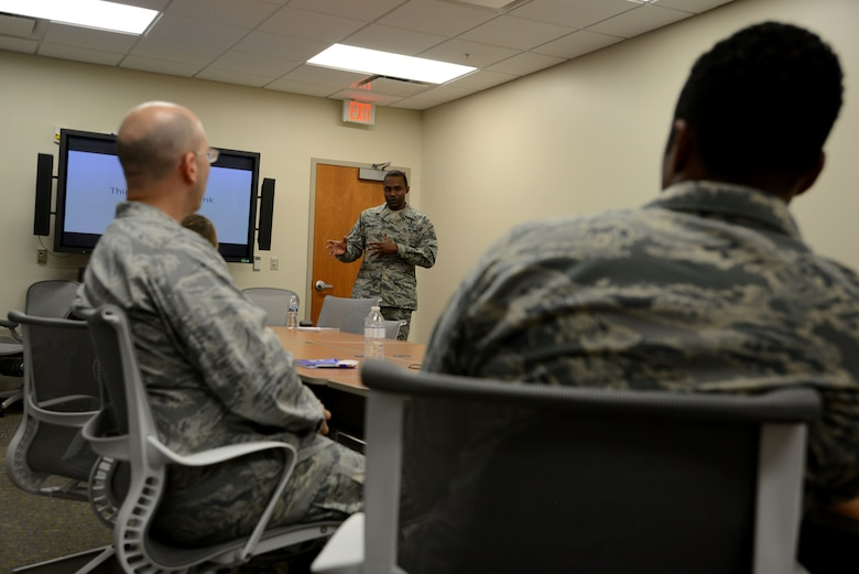 U.S. Air Force Master Sgt. Jerome Seleman, 20th Medical Group Mental Health Flight flight chief, gives a simulated briefing on the effects of alcohol consumption at Shaw Air Force Base, S.C., Dec. 4, 2017.