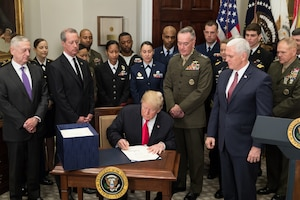 President Donald J. Trump signs the 2018 National Defense Authorization Act.