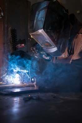 U.S. Air Force Master Sgt. Tyler Harrison, a structures craftsman with the 116th Air Control Wing (ACW), 116th Civil Engineer Squadron (CES), Georgia Air National Guard (GANG), practices stick welding during United States Air Forces Europe (USAFE) Silver Flag 2017 at Ramstein Air Base, Germany, June 8, 2017.