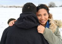 Airman 1st Class Nicholas Cash, firefighter with the 319th Civil Engineer Squadron, left, and Airman 1st Class Etelyn Cash, alarm monitor with the 319th Security Forces Squadron, spend time together on their day off in Grand Forks, North Dakota, Nov. 20, 2017. The couple has been married for nearly a year after getting married in January of 2017, three months after meeting. (Air Force photo illustration by Airman 1st Class Elora J. Martinez)