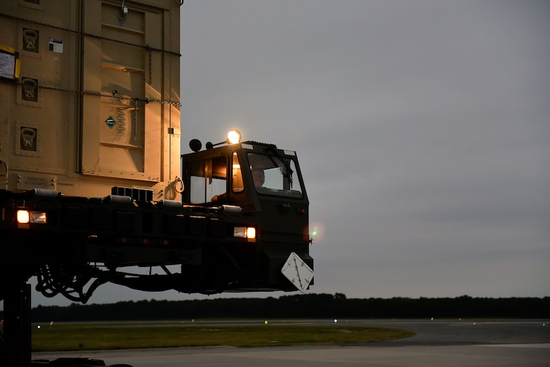 Senior Airman Kyle Wilson, 4th Logistics Readiness Squadron air transportation technician, drives a 60K Tunner cargo loader, Sept. 29, 2017, at Seymour Johnson Air Force Base, North Carolina. In October 2017, Airmen from Seymour Johnson AFB deployed to an undisclosed location in Southwest Asia in support of Operation Inherent Resolve. (U.S. Air Force photo by Airman 1st Class Victoria Boyton)