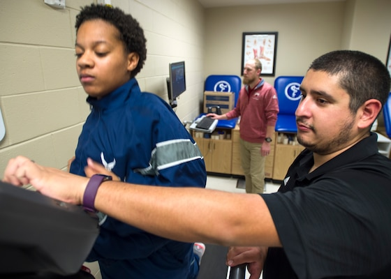 Trainee Kandyce Jones receives gait video and observational analysis at the 559th Medical Group VIPER Clinic on Joint Base San Antonio-Lackland, Texas, Nov. 29. Gait analysis helps patients optimize their form and prevent further injuries.