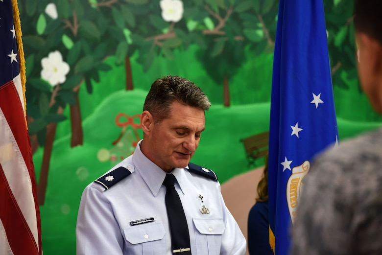 U.S. Air Force Lt. Col. Robert Borger, 17th Training Wing chaplain, gives the invocation at the ribbon cutting ceremony for the new Resiliency Center at Goodfellow Air Force Base, Texas, Dec. 11, 2017. The new Resiliency Center will be used for multiple classes and events related to comprehensive Airmen fitness. (U.S. Air Force photo by Airman 1st Class Seraiah Hines/Released)