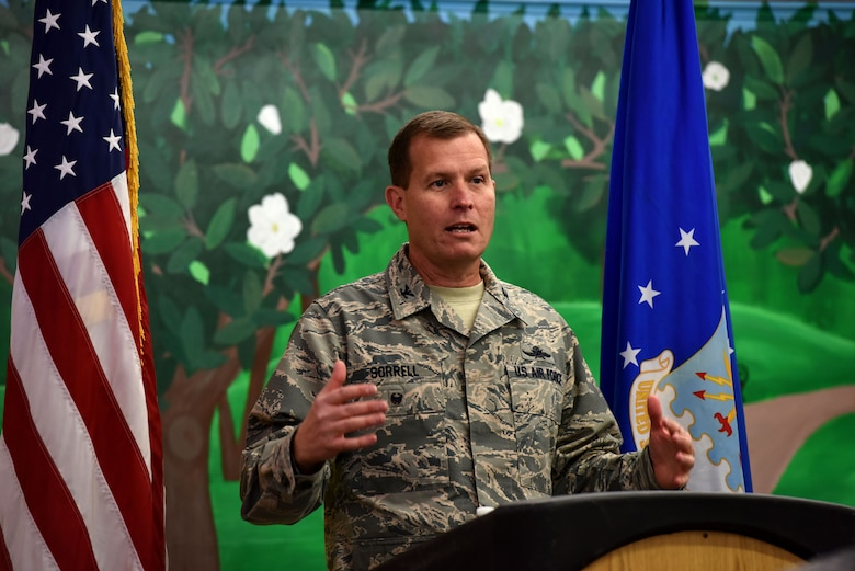 U.S. Air Force Col. Jeffrey Sorrell, 17th Training Wing vice commander, speaks about helping agencies and the many new opportunities the new Resiliency Center will present for Goodfellow members, at Goodfellow Air Force Base, Texas Dec. 11, 2017. The Resiliency center was a collaborative effort of the Community Action Team and volunteers across the base. (U.S. Air Force photo by Airman 1st Class Seraiah Hines/Released)
